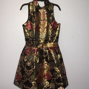 Gold Embroidered Party Dress